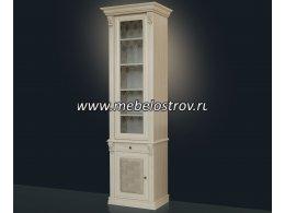 Благо-5 Шкаф для книг 1-но дверный с зеркалом и стеклянными полками (карамель)