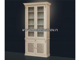 Благо-5 Шкаф для книг 2-х дверный с зеркалом и стеклянными полками (орех)
