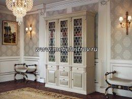 Благо-5 Шкаф для книг 3-х дверный с зеркалом и стеклянными полками (орех)