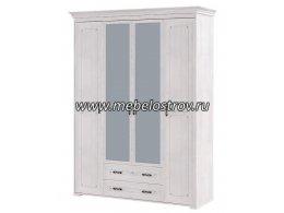 Афродита Шкаф для платья и белья 4-х дверный с ящиком (без карниза)