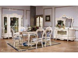 Монна Лиза  Комплект: Сервант 4-х дверный+Комод с зеркалом+Стол обеденный 1,9 (2,3)+2 Стула+4 Стула с подлокотниками